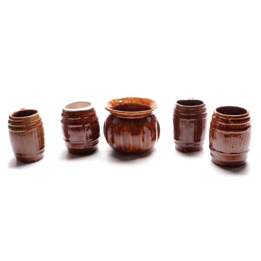 McCoy Brown Barrel Mugs and Other Brownware Vase, Mid-20th Century