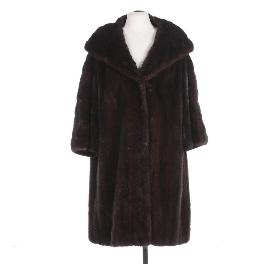 Mahogany Mink Fur Coat with Shawl Collar and Bracelet-Length Sleeves