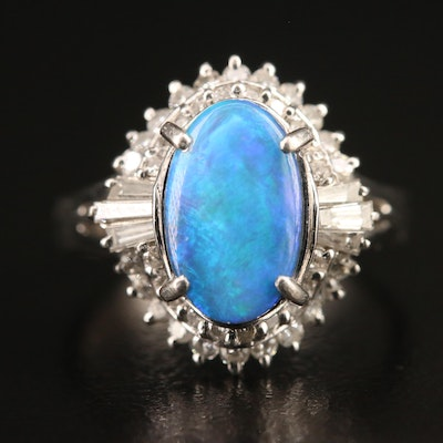 Platinum Boulder Opal and Diamond Ballerina Ring
