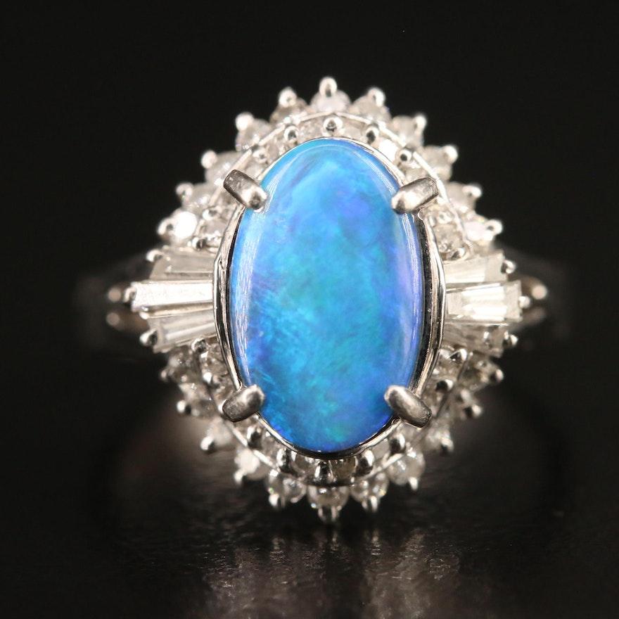 Platinum Boulder Opal and Diamond Ballerina Ring