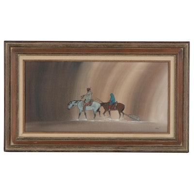 Beatien (Little No Shirt) Yazz Mixed Media Painting of Traveling Figures, 1981