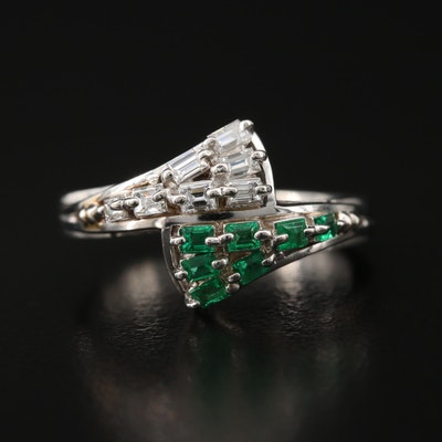 Platinum Diamond and Emerald Bypass Ring