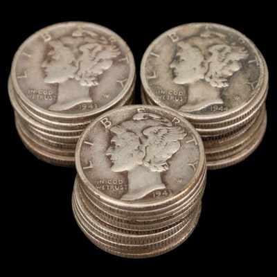 Twenty-Eight Mercury Silver Dimes