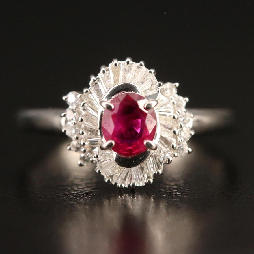 Platinum Ruby and Diamond Ring