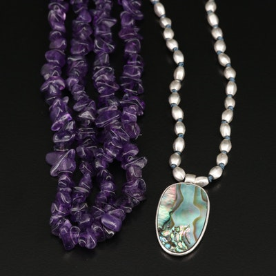 Kenneth Cole Abalone and Endless Amethyst Necklaces