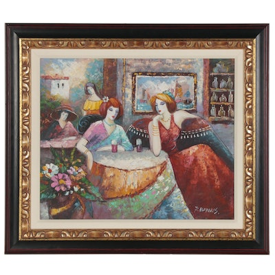 K. Barnes Oil Painting of Women at Cafe, 21st Century
