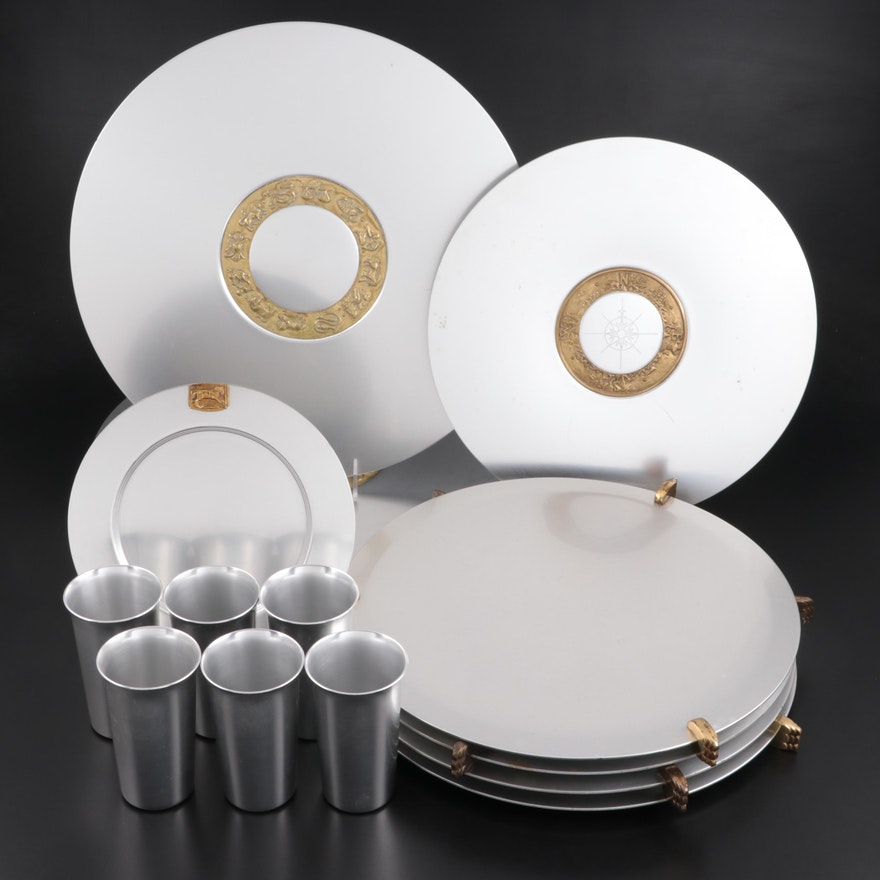 """Kensington """"Zodiac"""" and Other Aluminum Chargers and Cups"""