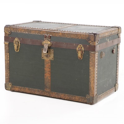 Metal-Bound and Canvas-Lined Wood Doll's Steamer Trunk, Early 20th Century