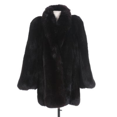 Boutique Dell 'Arte Black Dyed Full Pelt Fox Fur Stroller, Made in Italy