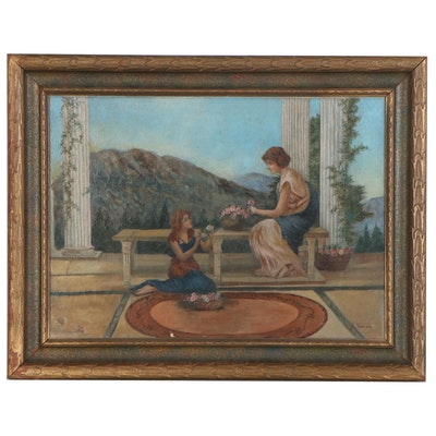 Maxine Landis Neoclassical Style Oil Painting, Late 19th Century