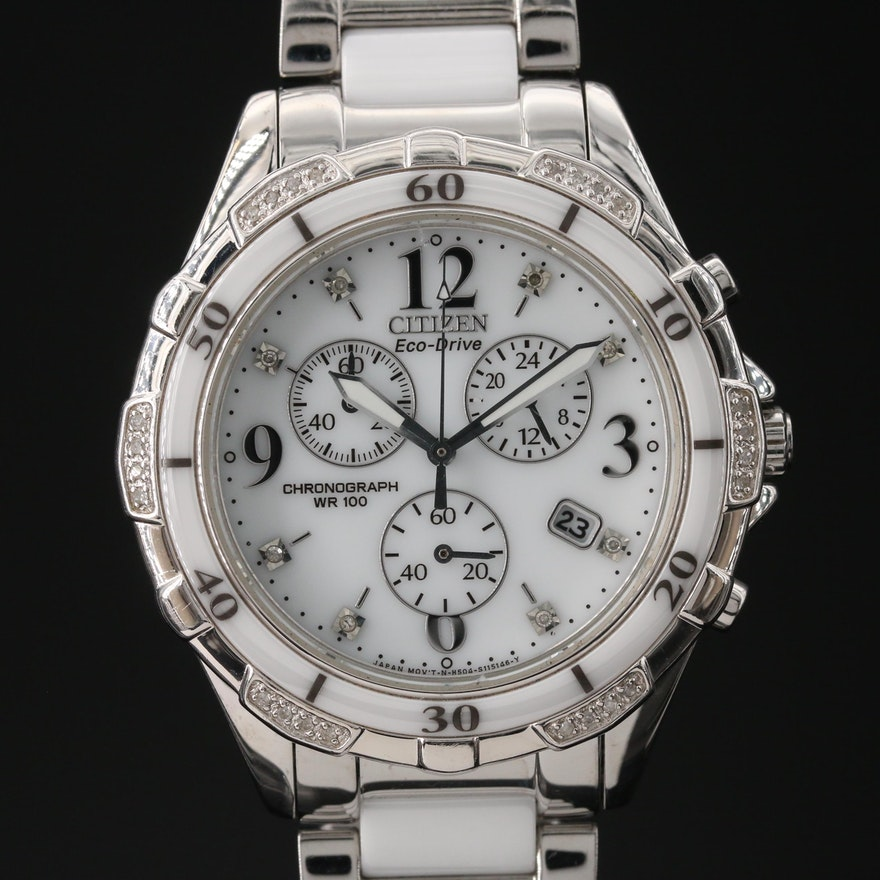 Citizen Eco Drive Chandler Ceramic and Stainless Steel with Diamonds Wristwatch
