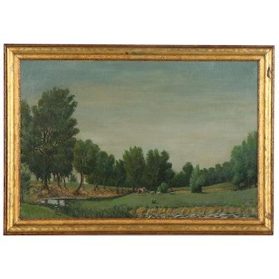 Pastoral Landscape Oil Painting, 1943