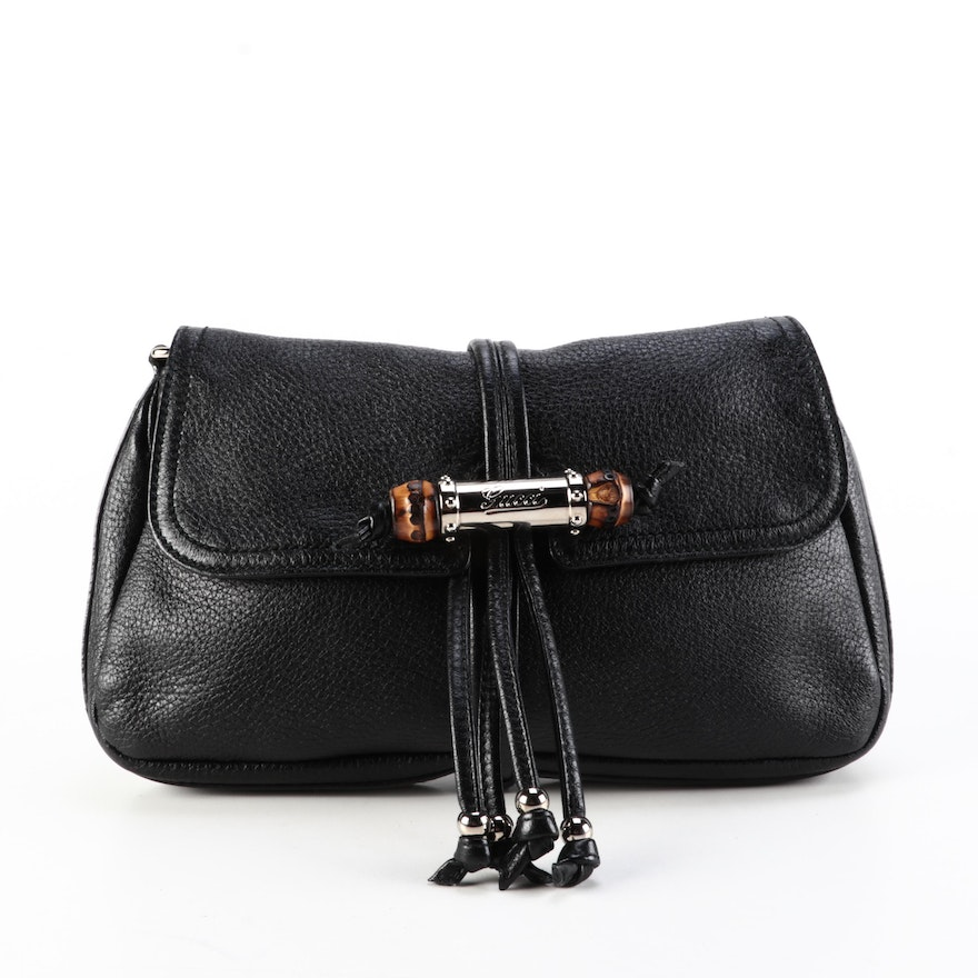Gucci Croisette Bamboo Clutch Bag in Black Grained Leather with Chain Strap