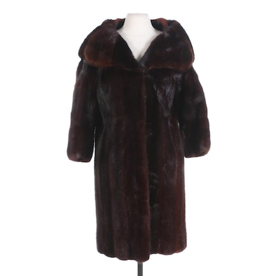 Mahogany Mink Fur Coat with Shawl Collar and Bracelet-Length Sleeves