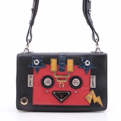 Prada Robot Flap Mixed Media Leather Shoulder Bag