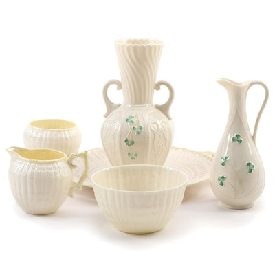 "Belleek ""Shamrock"" and ""Neptune"" Porcelain Platter, Pitcher, and More"