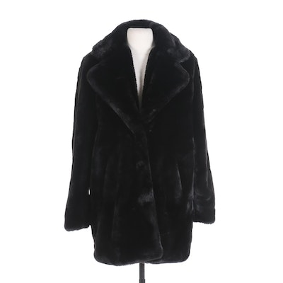 Apparis Black Faux Fur Coat with Wide Notched Collar