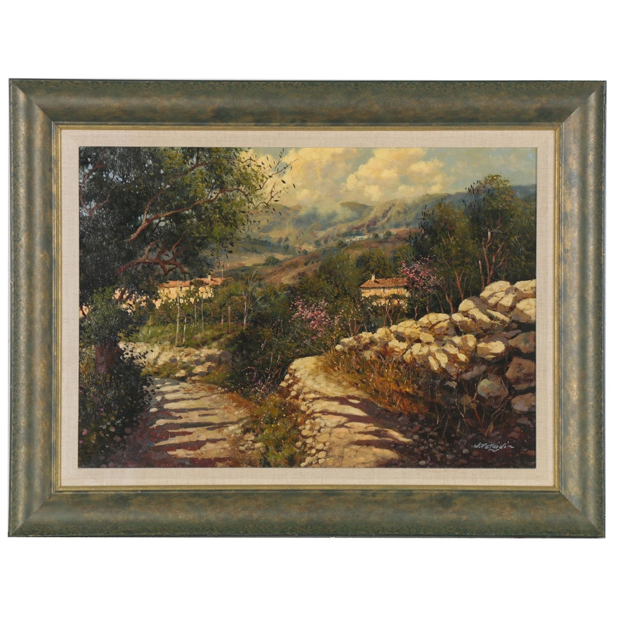 Landscape Oil Painting of Tuscany, Late 20th Century