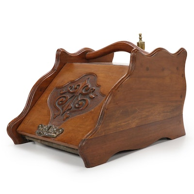 Art Nouveau Carved Walnut Coal Scuttle with Shovel, Late 19th/ Early 20th C.