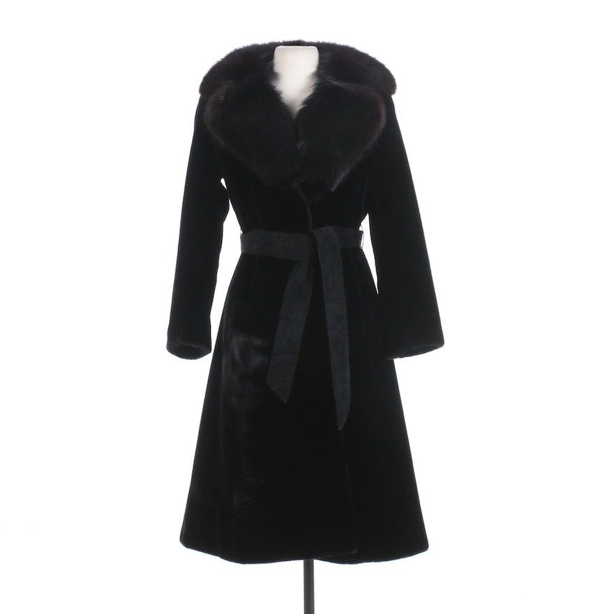 Saks Fifth Avenue Black Faux Fur Belted Coat with Fox Fur Notched Shawl Collar