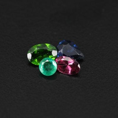 Loose 2.18 CTW Gemstones Featuring Sapphire, Emerald, Diopside