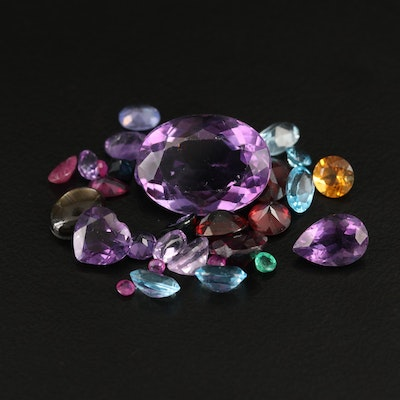 Loose 22.34 CTW Gemstones Including Black Star Sapphrie, Ruby and Amethyst