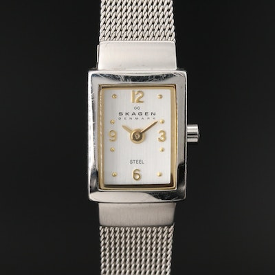 Skagen Tank Style Stainless Steel Quartz Wristwatch