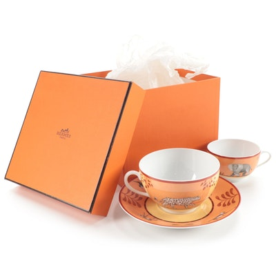 "Hermès ""Africa"" Porcelain Breakfast Cup and Saucer and Teacup"