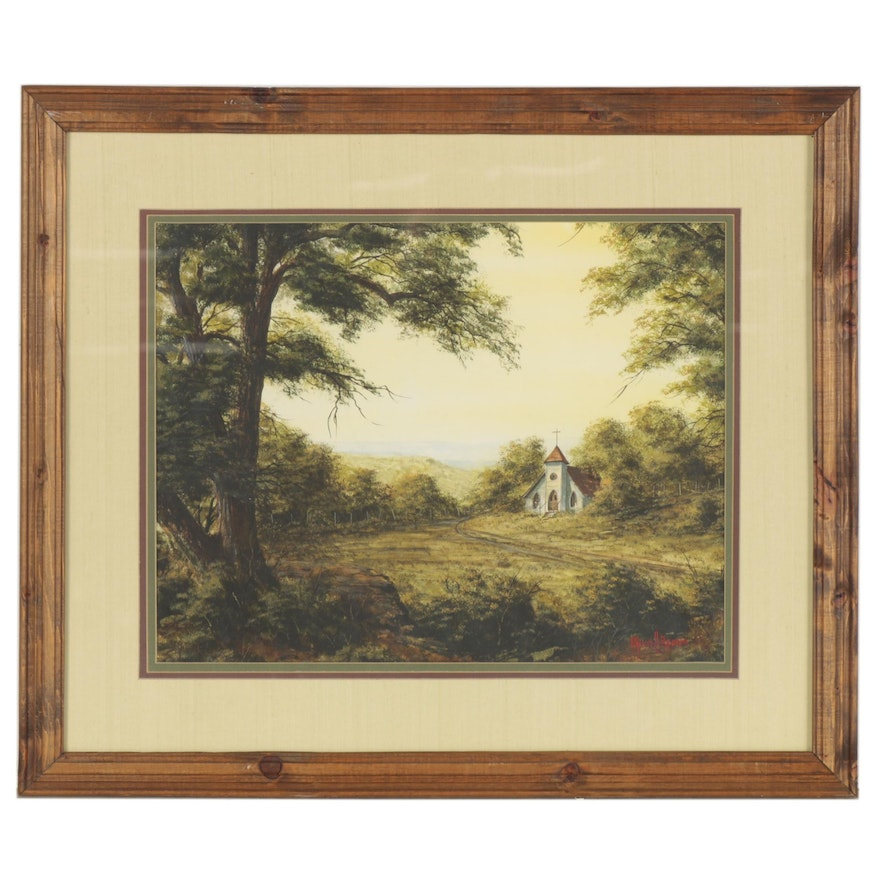 R. Russell Brown Landscape Watercolor Painting of Forest with Church