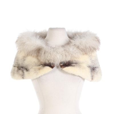 Amrose New York Cross Mink and Fox Fur Wedding Stole