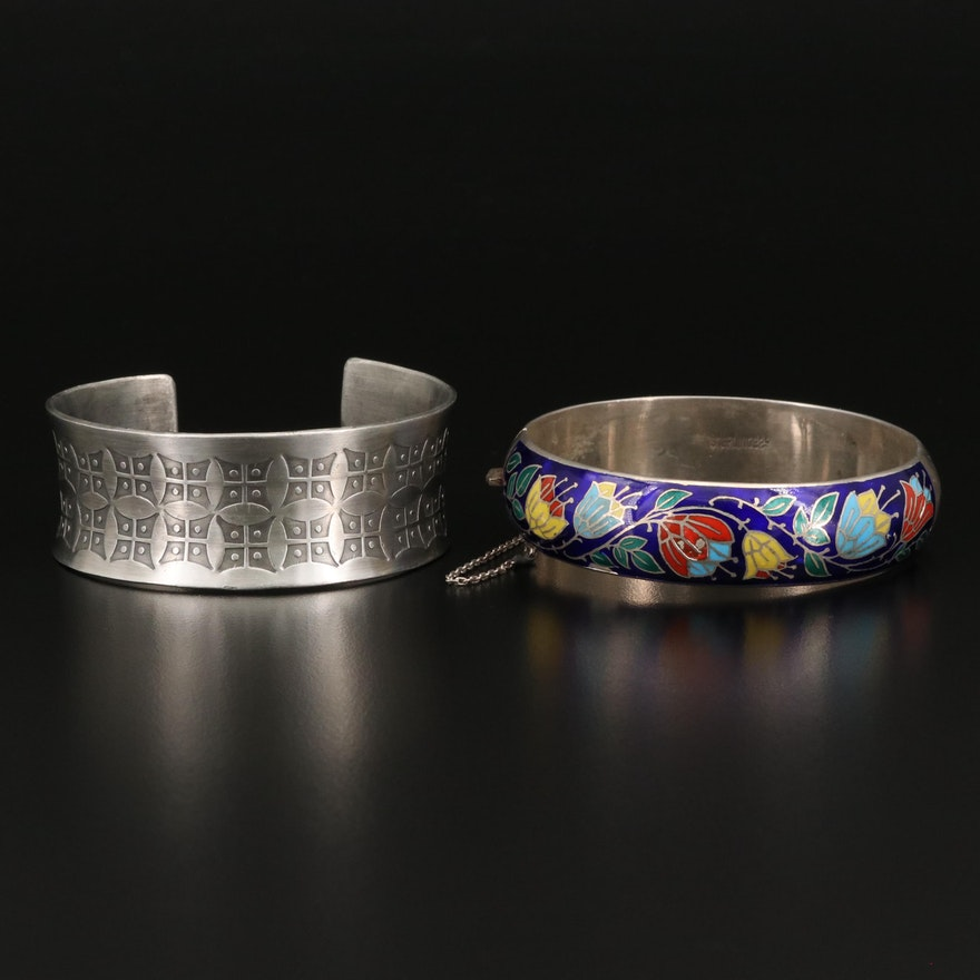 Sterling Enamel Floral Hinged Bangle and Pewter Engraved Cuff