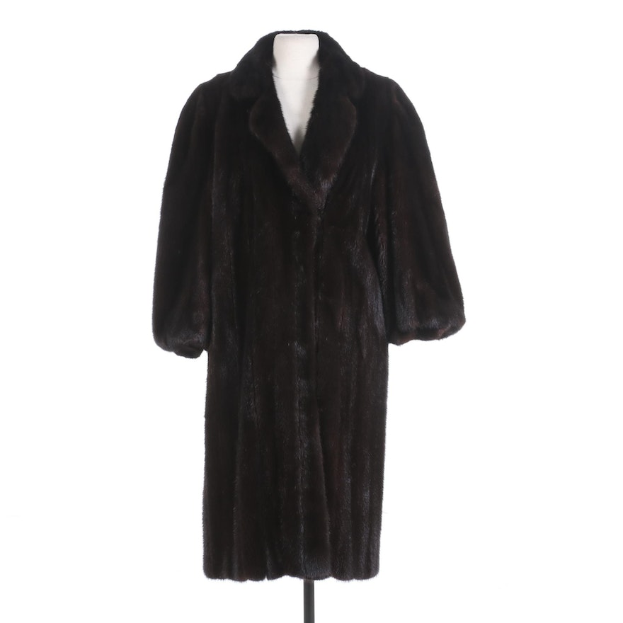 The Evans Collection Dark Mahogany Mink Fur Coat with Tapered Cuffs