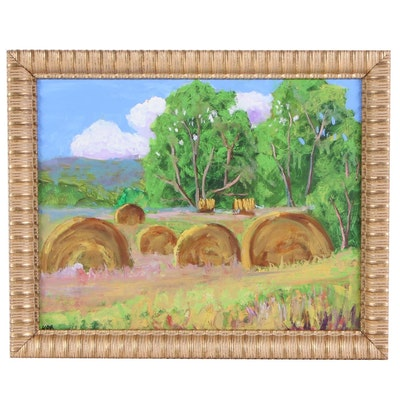 Kenneth R. Burnside Oil Painting of Pastoral Landscape with Hay Bales