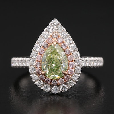 14K 1.60 CTW Diamond Ring with GIA Colored Diamond Report