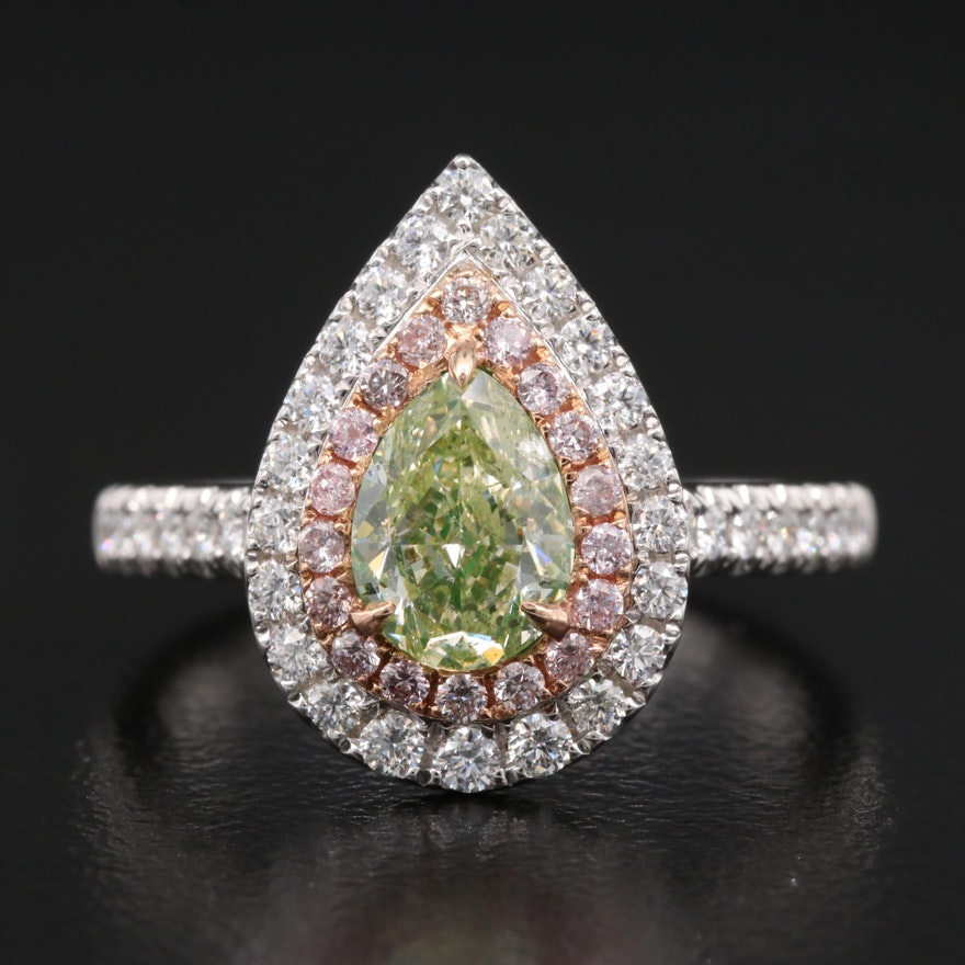 14K 1.60 CTW Diamond Ring with GIA Colored Diamond Report