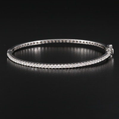 14K Oval 1.25 CTW Diamond Hinged Bangle