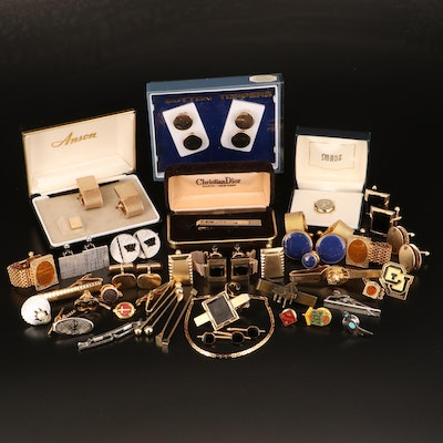 Cufflinks, Tie Bars and Lapel Pins Including Christian Dior Tie Clip