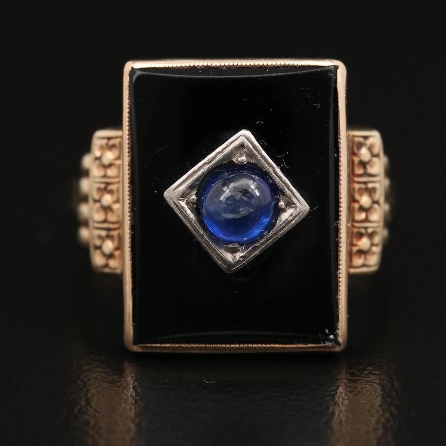 Art Deco Sapphire and Black Onyx Ring