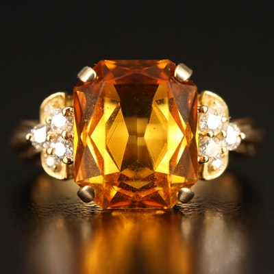 18K Orange Glass and Diamond Ring
