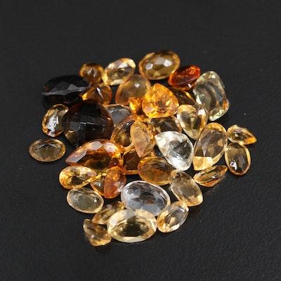 Loose 25.96 CTW Gemstones Including Topaz, Smoky Quartz and Citrine