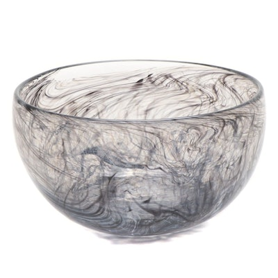 Blown Black Swirled Art Glass Bowl, 21st Century