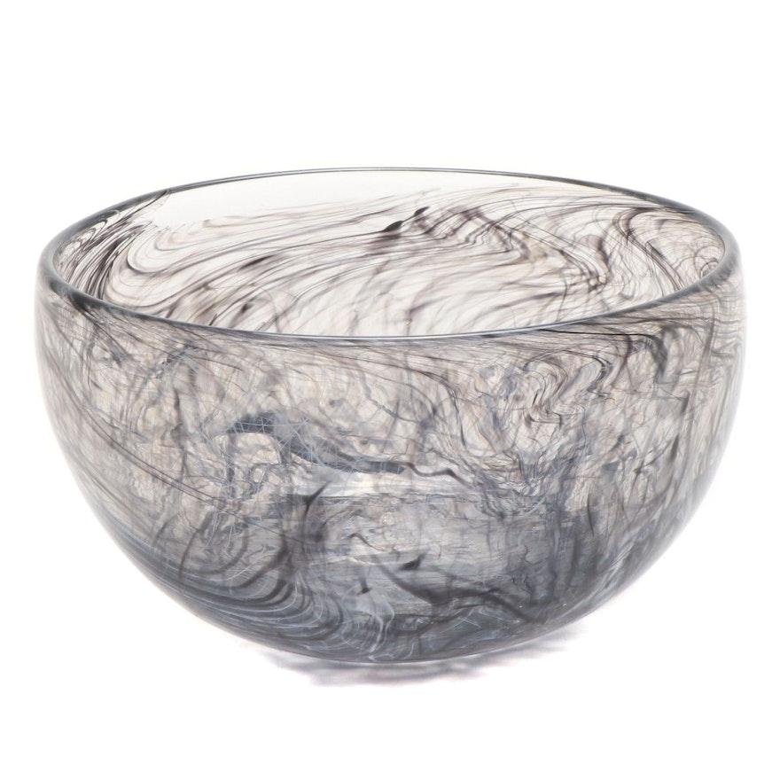 Blown Black Swirled Art Glass Bowl, 21st Century