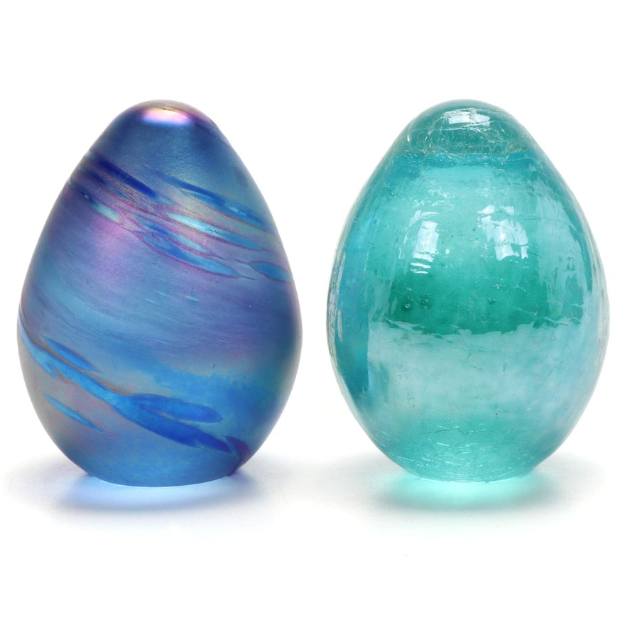 Art Glass Eggs, Late 20th Century