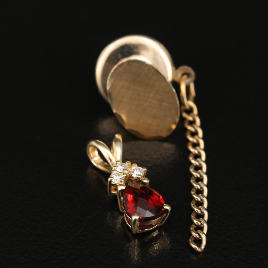 14K Garnet and Diamond Pendant and Oval Tie Tack