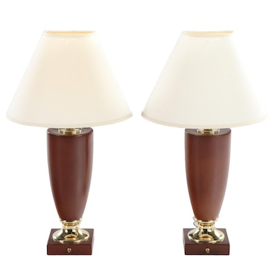 Pair of  Amber Enameled Metal and Brass Table Lamps, Mid/Late 20th Century