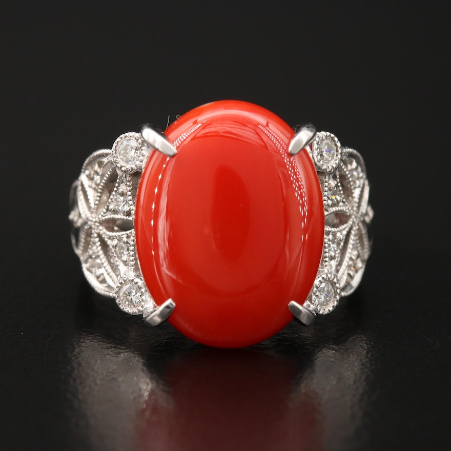 Platinum Coral and Diamond Ring