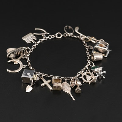 Vintage Sterling Charm Bracelet Including Enamel Accents