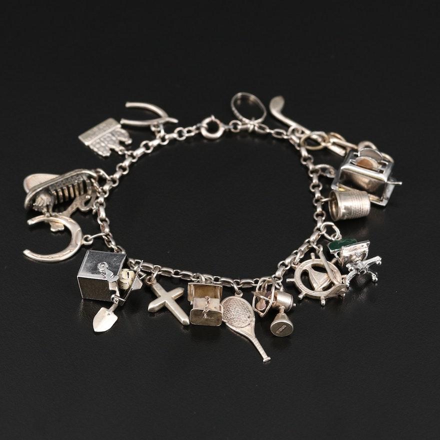 Vintage Sterling Charm Bracelet Including Enamel Accents