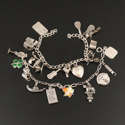 Vintage Charm Bracelets Including Articulation with Enamel Accents
