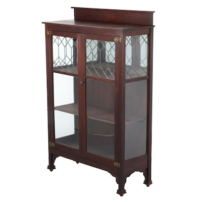 Arts and Crafts Walnut and Leaded Glass Display Cabinet, Early 20th Century